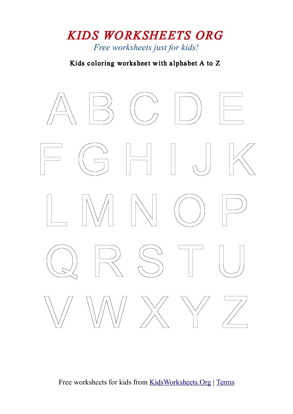 Kids Alphabet Coloring Worksheets A Z Uppercase Kids Worksheets Org