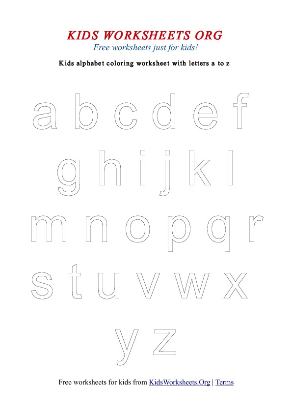 Kids Worksheets Alphabet Coloring