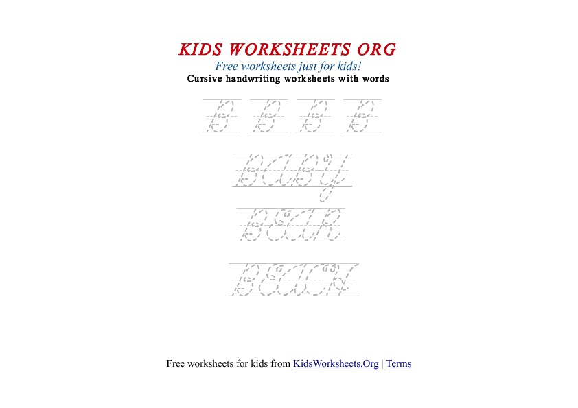 Kids Letter B in Cursive Handwriting Worksheet
