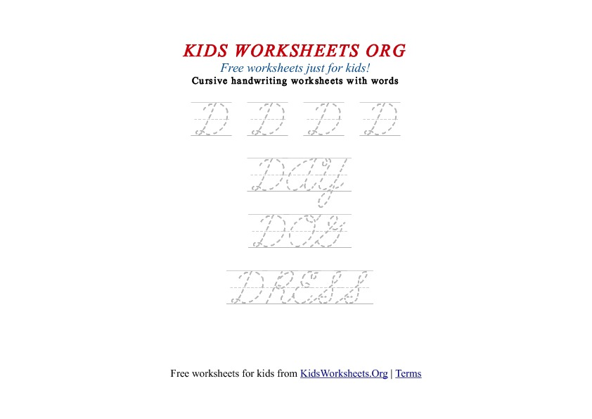 Kids Letter D in Cursive Handwriting Worksheet