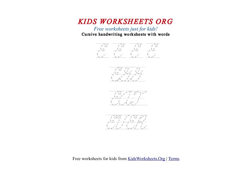 Kids Letter E in Cursive Handwriting Worksheet