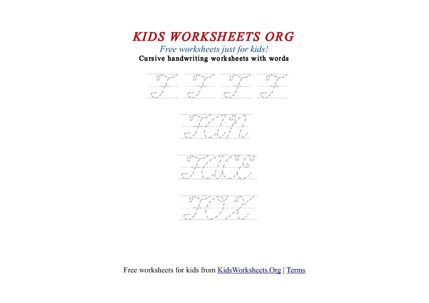 Kids Letter F in Cursive Handwriting Worksheet