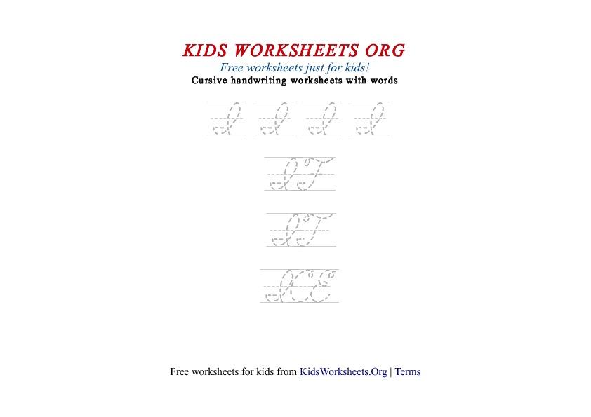 Kids Letter I In Cursive Handwriting Worksheet Kids Worksheets Org