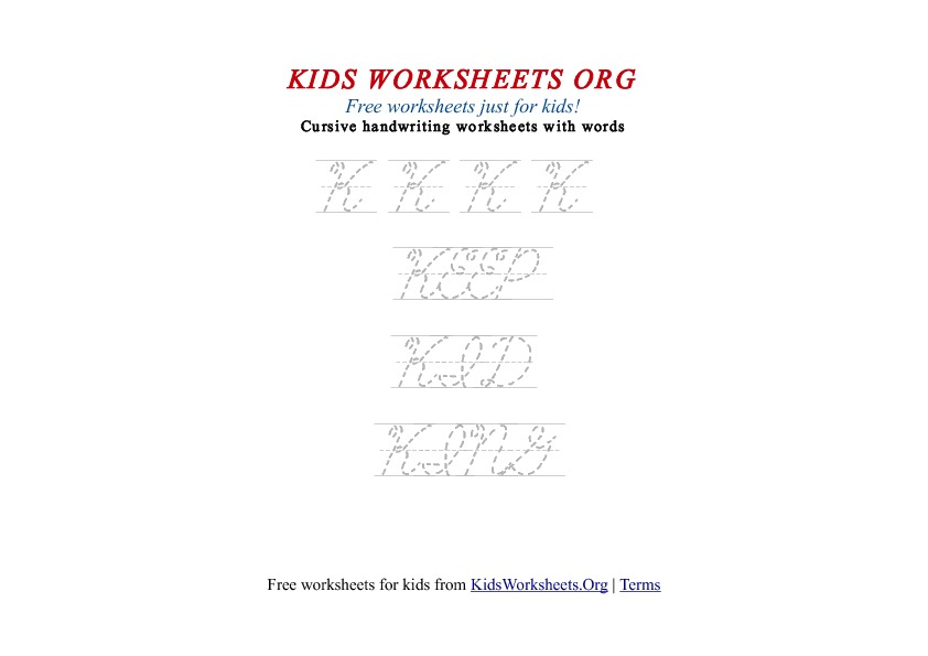 Kids Letter K in Cursive Handwriting Worksheet