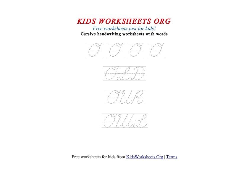 Kids Letter O in Cursive Handwriting Worksheet : Kids ...