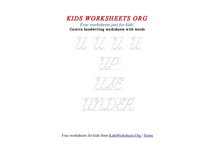 Letter U cursive handwriting tracing worksheets for kids. This PDF ...