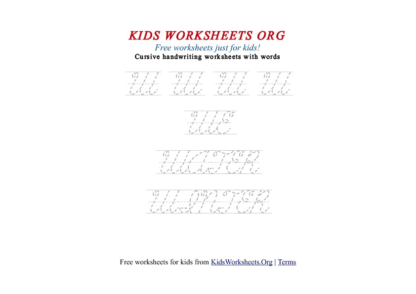 Kids Letter W In Cursive Handwriting Worksheet