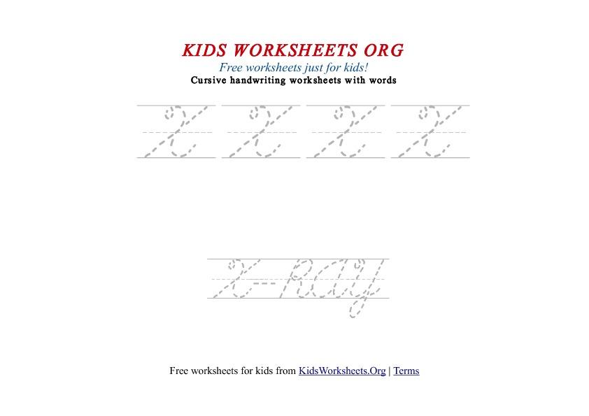 Kids Letter X in Cursive Handwriting Worksheet   Kids Worksheets Org