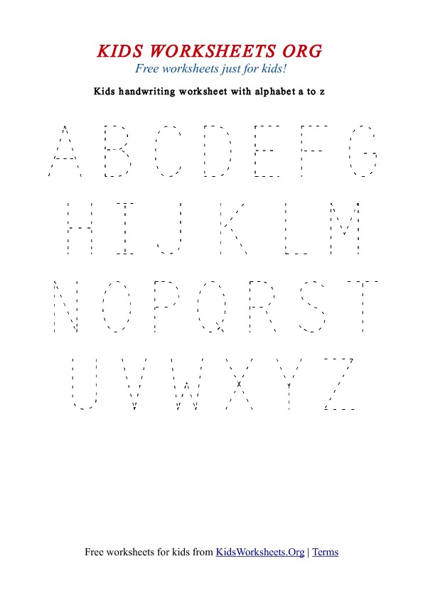 Worksheet Printable Alphabet Worksheets A-z kids handwriting worksheets a z uppercase org alphabet z
