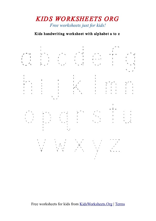 {Kids Handwriting Worksheets az – A-z Worksheets for Kindergarten