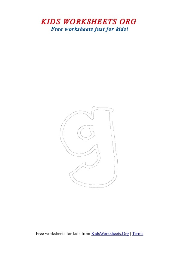 Printable Lowercase Letter G Coloring Worksheet