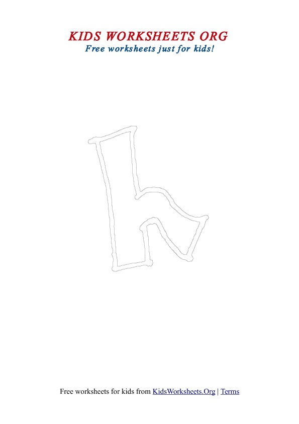 Printable Lowercase Letter H Coloring Worksheet