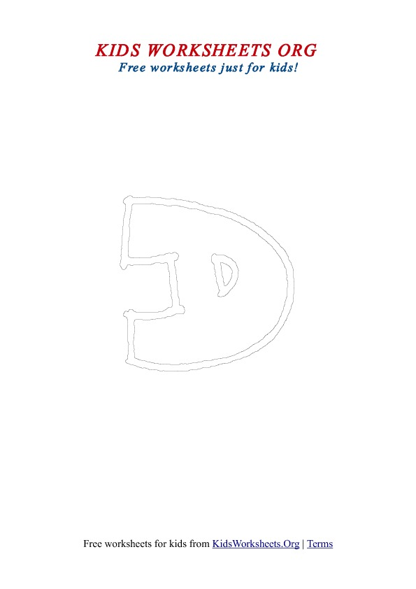 Printable Uppercase Letter D Coloring Worksheet