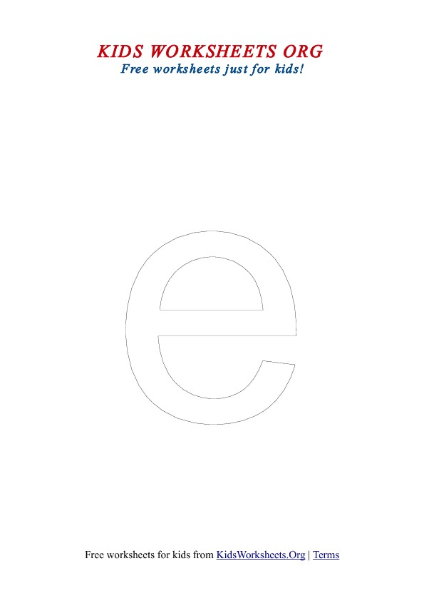 Printable Lowercase Letter E Coloring Worksheet