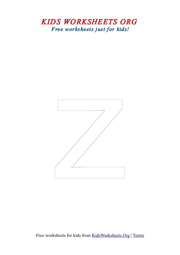 Printable Lowercase Letter Z Coloring Worksheet