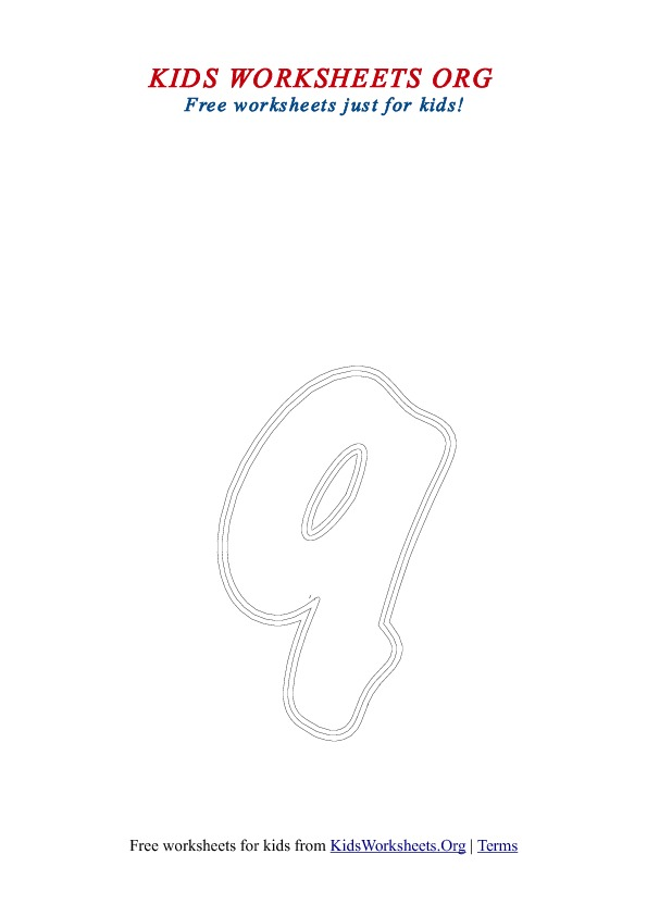 Printable Lowercase Letter Q Coloring Worksheet