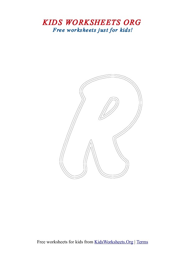 Printable Uppercase Letter R Coloring Worksheet