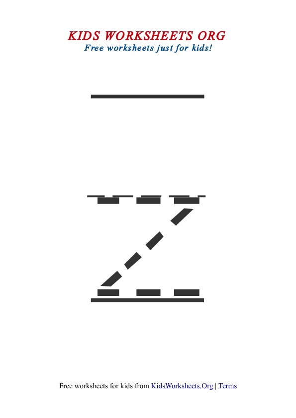 Printable Lowercase Letter Z Tracing Worksheet