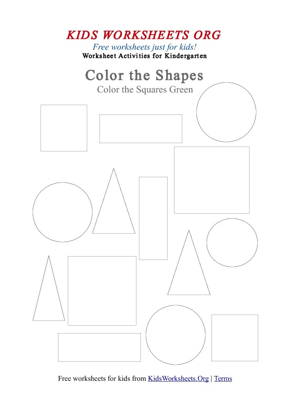 Kindergarten Square Shapes to Color