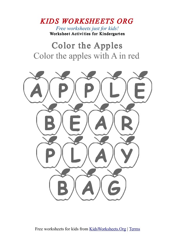 math worksheet : kindergarten words worksheet with apples  kids worksheets org : Kindergarten Printables Worksheets
