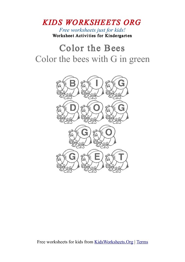 Kindergarten Words Worksheet with Bees | Kids Worksheets Org