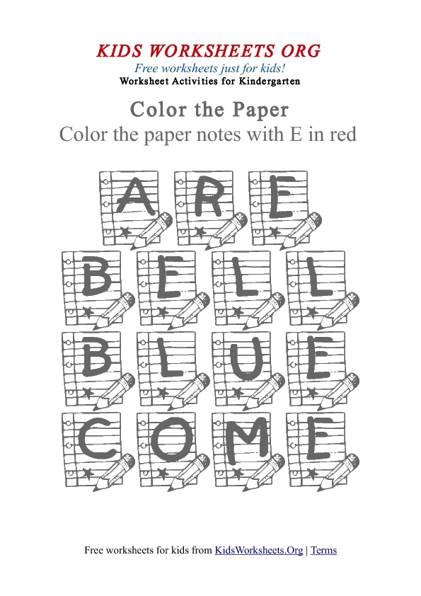 Kindergarten Worksheet Words to Color - Paper