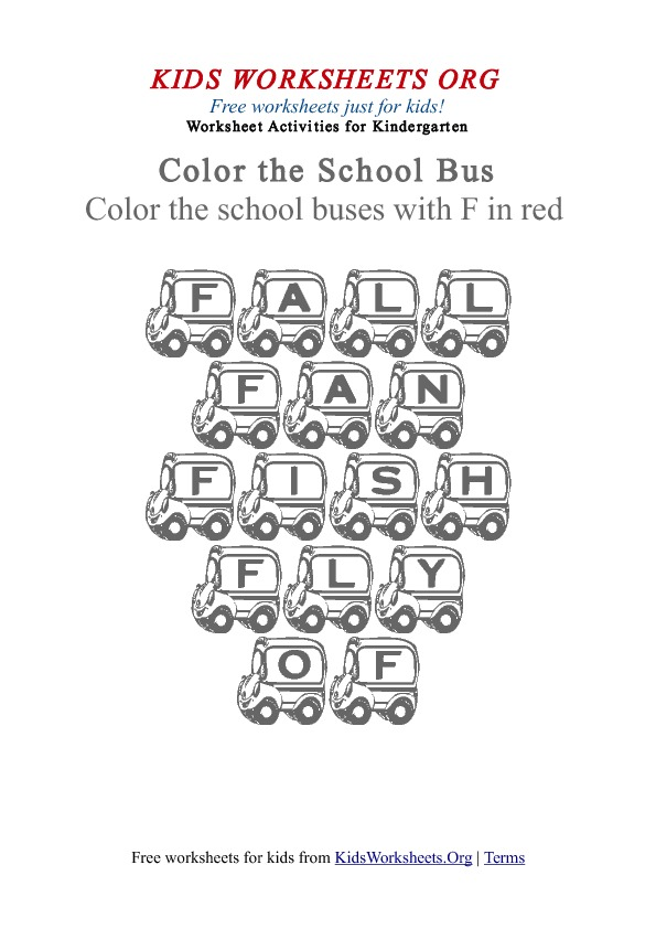 Kindergarten Words Worksheet with School Buses | Kids Worksheets Org