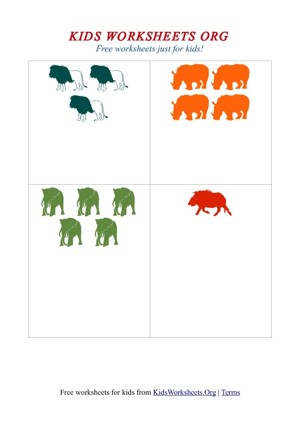 Kids Counting The Animals Worksheet Kids Worksheets Org