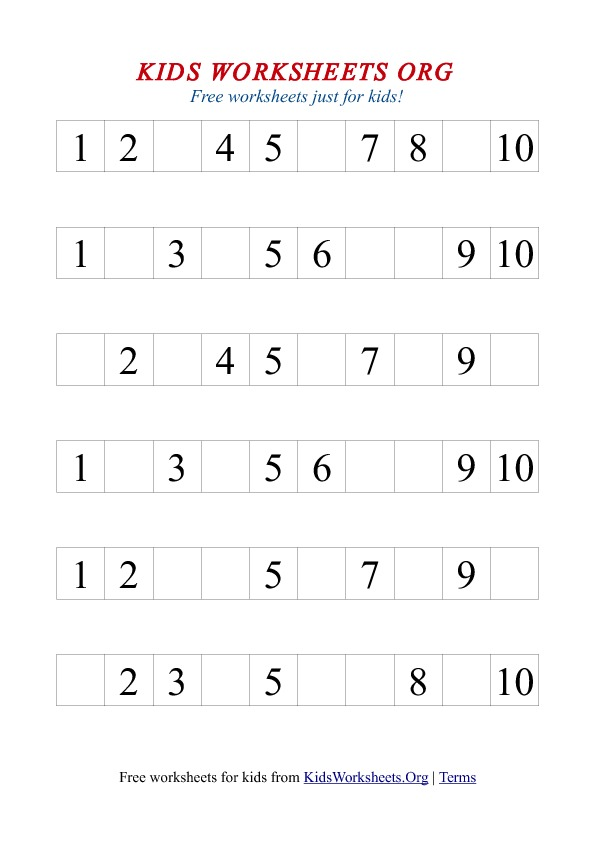 Free 1-10 missing number math worksheet in printable format. Fill in ...