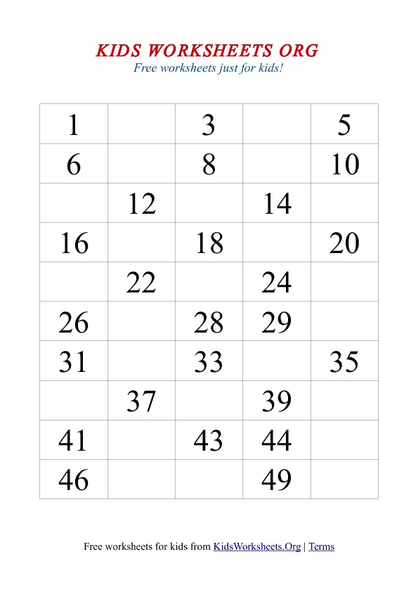 1 50 missing number worksheet - Kids Activities Print