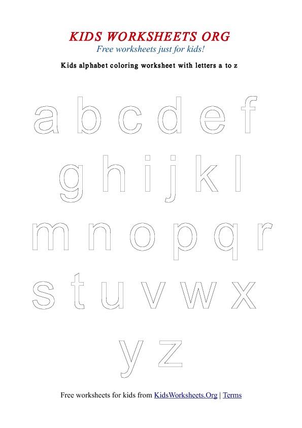 Kids Alphabet Coloring Worksheets a-z | Kids Worksheets Org