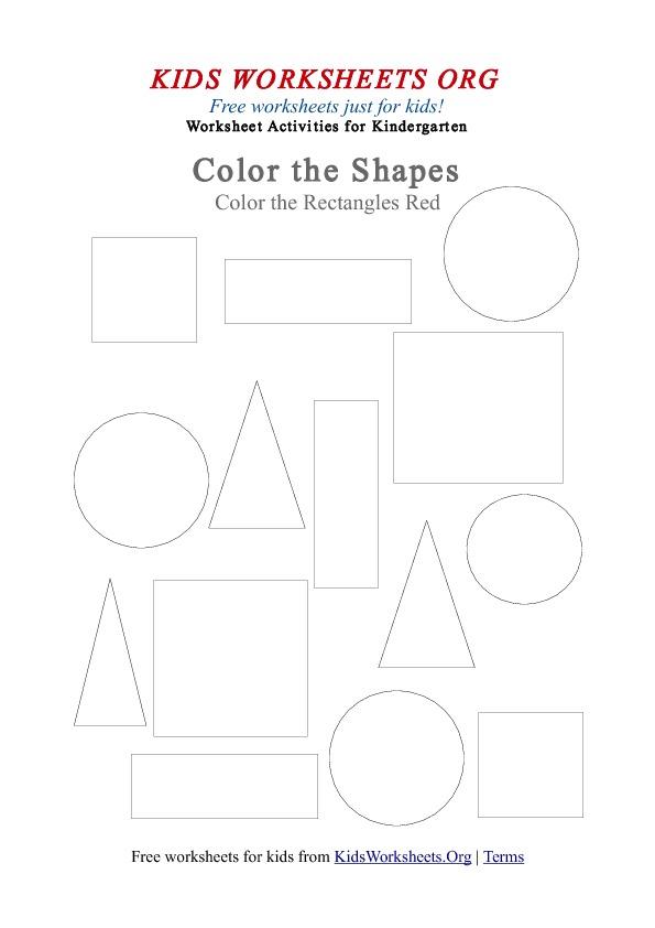 Kindergarten Worksheets kindergarten worksheets for kids : Kindergarten Rectangle Shapes Coloring Worksheet | Kids Worksheets Org