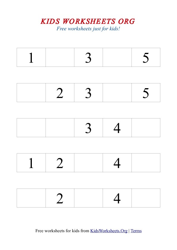 Printable Worksheets kindergarten number worksheets 1-10 : 1-5 Missing Number Worksheet | Kids Worksheets Org